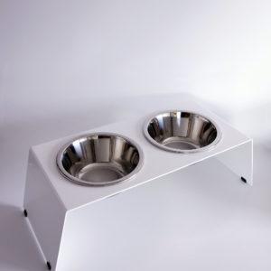 Produktbild Futterstation, Futterbar in Edelrost mit Edelstahlschüsseln